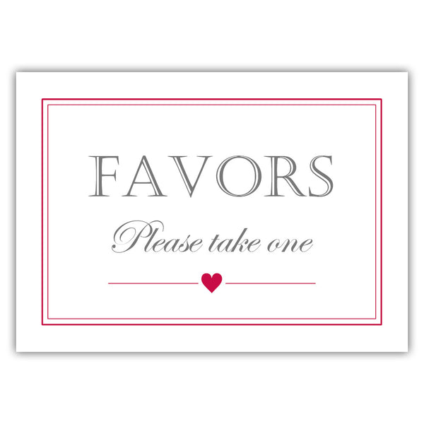 Favors sign - Raspberry - Dazzling Daisies