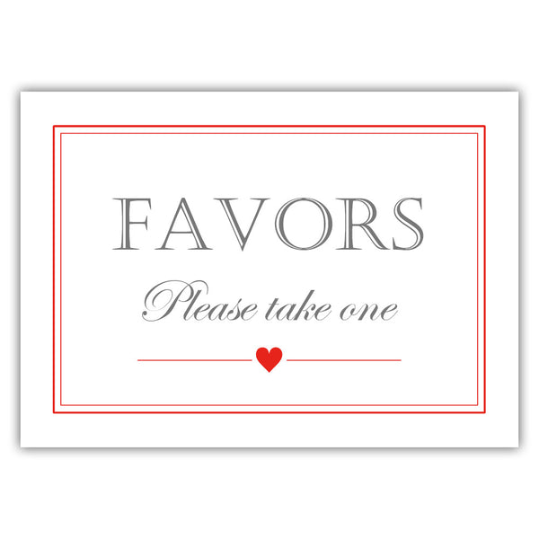 Favors sign - Red - Dazzling Daisies
