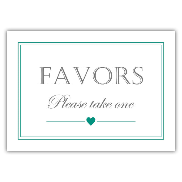 Favors sign - Teal - Dazzling Daisies
