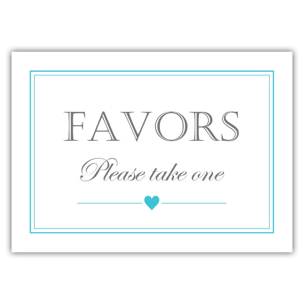 Favors sign - Turquoise - Dazzling Daisies