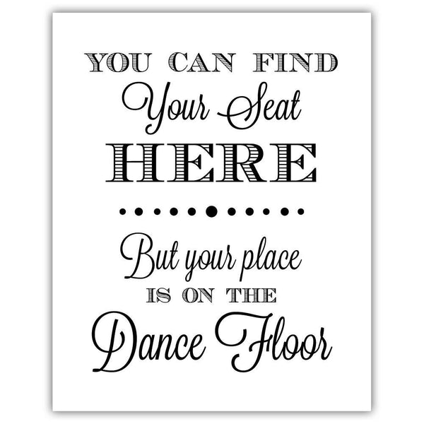 "Find your seat sign - 5x7"" / Black - Dazzling Daisies"