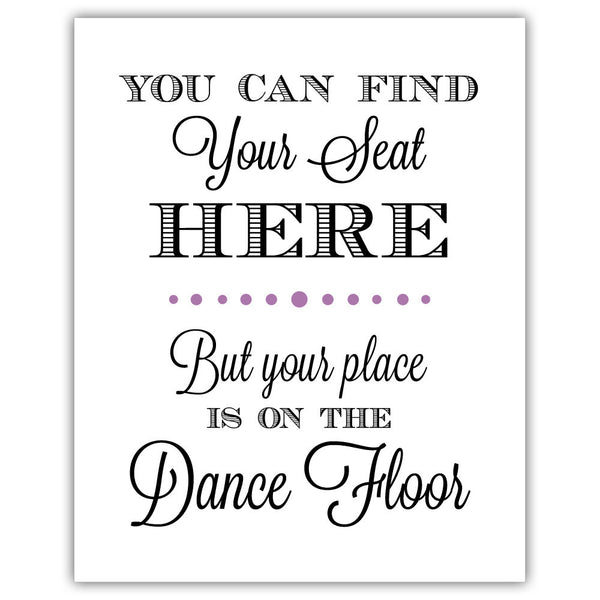 "Find your seat sign - 5x7"" / Plum - Dazzling Daisies"