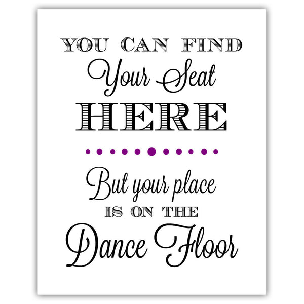 "Find your seat sign - 5x7"" / Purple - Dazzling Daisies"