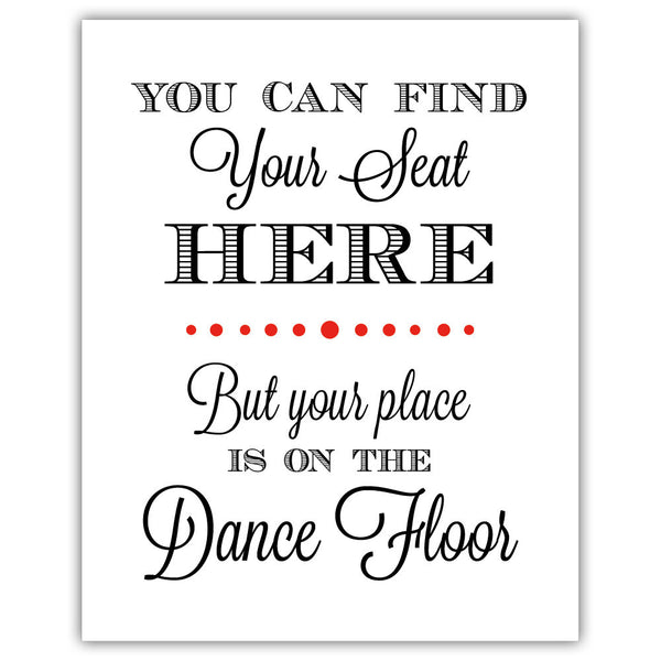 "Find your seat sign - 5x7"" / Red - Dazzling Daisies"