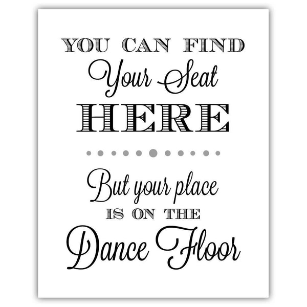 "Find your seat sign - 5x7"" / Silver - Dazzling Daisies"