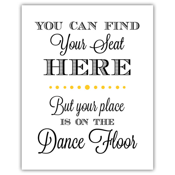 "Find your seat sign - 5x7"" / Yellow - Dazzling Daisies"