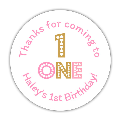 "First birthday stickers 'Big and Bold' - 1.5"" circle = 30 labels per sheet / Pink - Dazzling Daisies"
