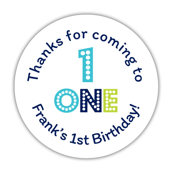 "First birthday stickers 'Big and Bold' - 1.5"" circle = 30 labels per sheet / Navy - Dazzling Daisies"