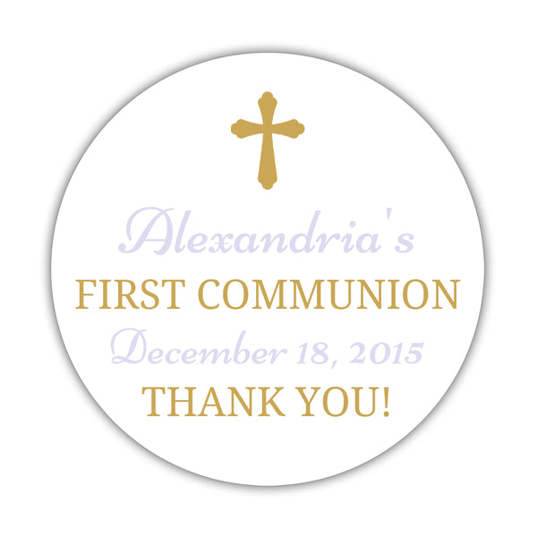 "First communion stickers 'Basic Beauty' - 1.5"" circle = 30 labels per sheet / Gold/Lavender - Dazzling Daisies"