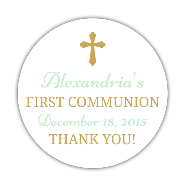 "First communion stickers 'Basic Beauty' - 1.5"" circle = 30 labels per sheet / Gold/Mint - Dazzling Daisies"