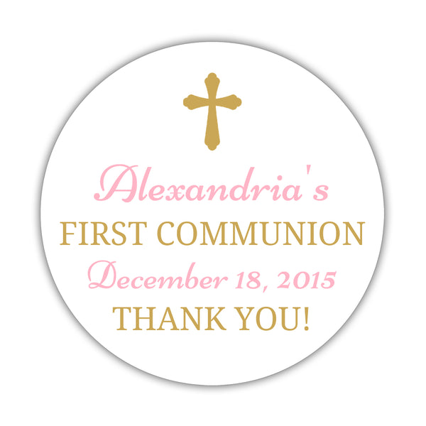 "First communion stickers 'Basic Beauty' - 1.5"" circle = 30 labels per sheet / Gold/Pink - Dazzling Daisies"