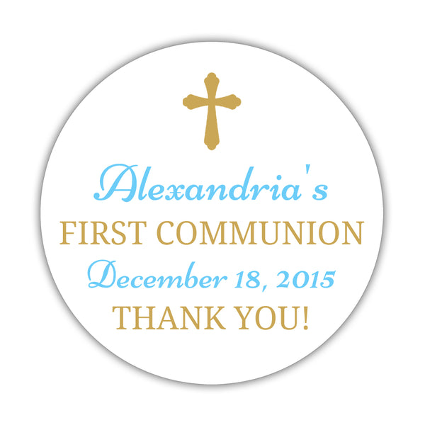 "First communion stickers 'Basic Beauty' - 1.5"" circle = 30 labels per sheet / Gold/Sky blue - Dazzling Daisies"