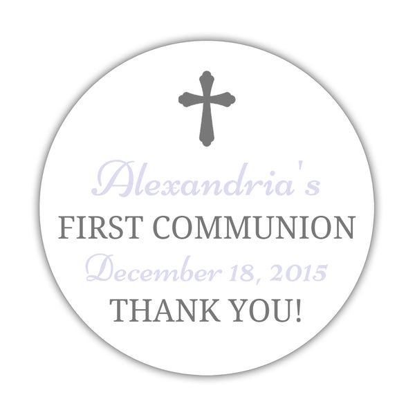 "First communion stickers 'Basic Beauty' - 1.5"" circle = 30 labels per sheet / Gray/Lavender - Dazzling Daisies"