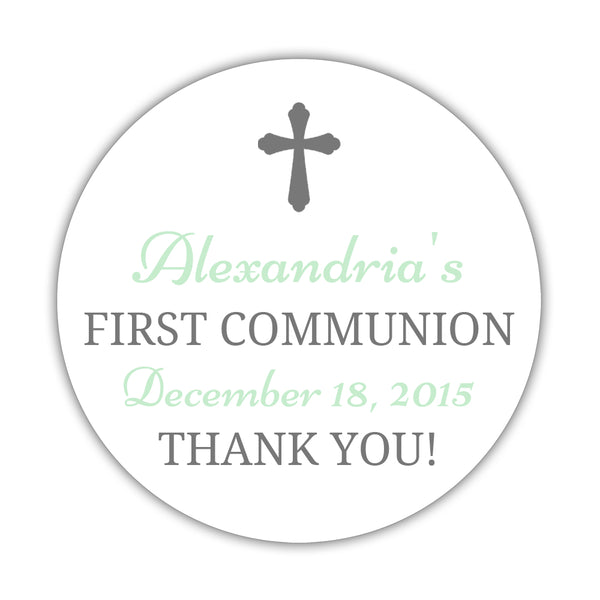 "First communion stickers 'Basic Beauty' - 1.5"" circle = 30 labels per sheet / Gray/Mint - Dazzling Daisies"