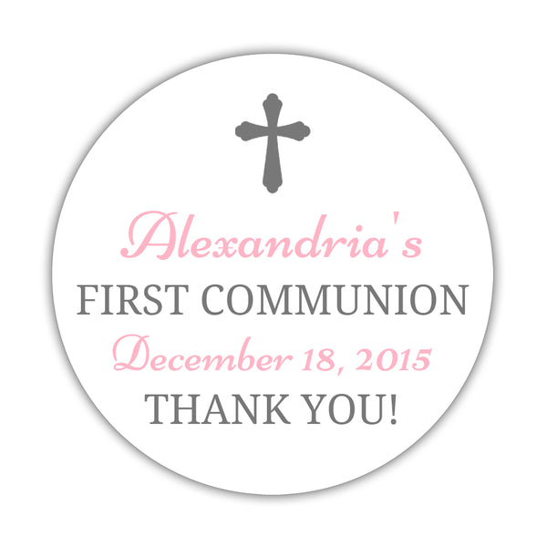 "First communion stickers 'Basic Beauty' - 1.5"" circle = 30 labels per sheet / Gray/Pink - Dazzling Daisies"