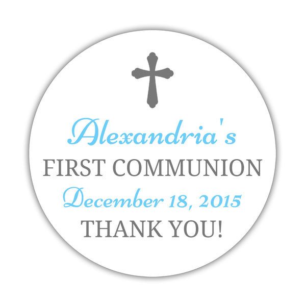 "First communion stickers 'Basic Beauty' - 1.5"" circle = 30 labels per sheet / Gray/Sky blue - Dazzling Daisies"