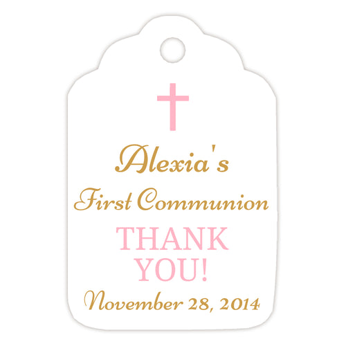 Communion tags, Baptism tags 'Basic Beauty' - Gold/Pink - Dazzling Daisies