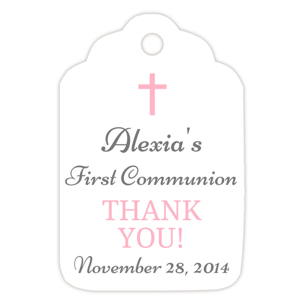 Communion tags, Baptism tags 'Basic Beauty' - Gray/Pink - Dazzling Daisies