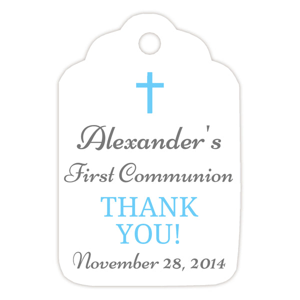 Communion tags, Baptism tags 'Basic Beauty' - Gray/Sky blue - Dazzling Daisies