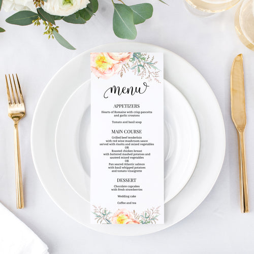 Watercolor wedding menu 'Floral Statement' -  - Dazzling Daisies