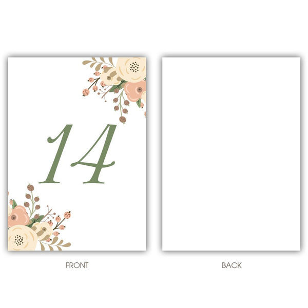 Floral table numbers - 1-6 / Blank - Dazzling Daisies