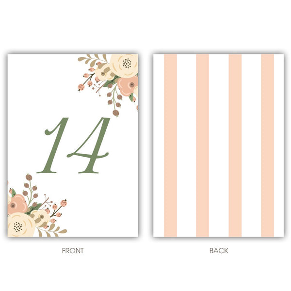 Floral table numbers - 1-6 / Striped - Dazzling Daisies