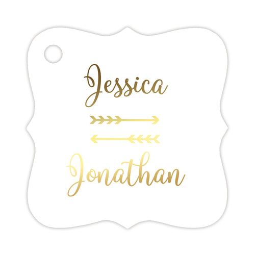 Foil wedding tags 'Double Arrow' - Gold foil - Dazzling Daisies