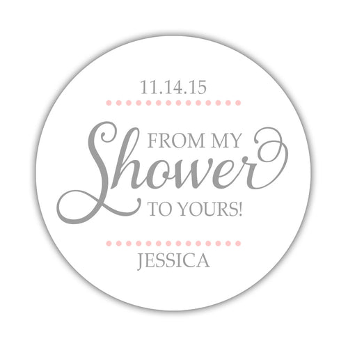 "From my shower to yours stickers dots - 1.5"" circle = 30 labels per sheet / Silver/Blush - Dazzling Daisies"