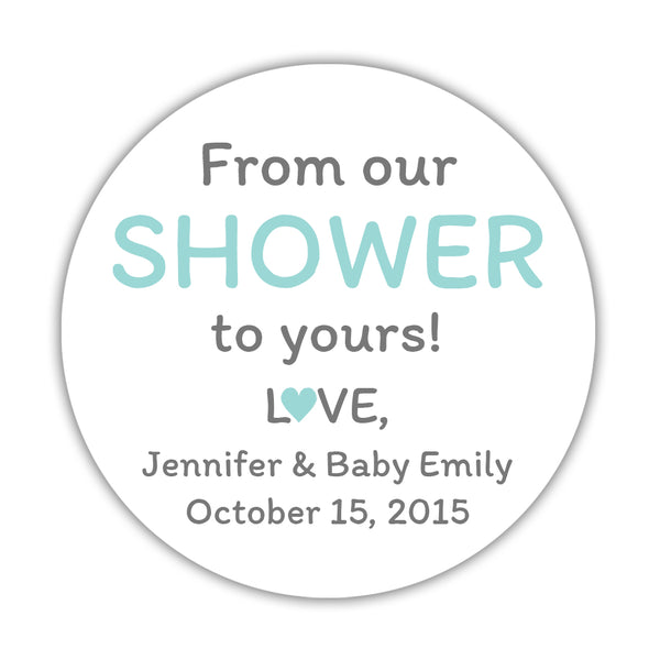 "From our shower to yours stickers - 1.5"" circle = 30 labels per sheet / Aquamarine - Dazzling Daisies"