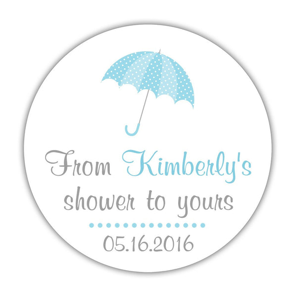 "From my shower to yours stickers 'Ultimate Umbrella' - 1.5"" circle = 30 labels per sheet / Sky blue - Dazzling Daisies"