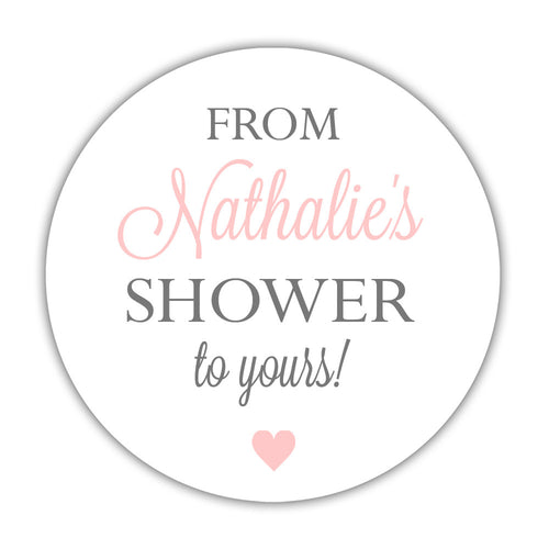 "From my shower to yours stickers heart - 1.5"" circle = 30 labels per sheet / Blush - Dazzling Daisies"