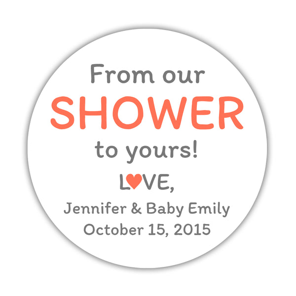 "From our shower to yours stickers - 1.5"" circle = 30 labels per sheet / Coral - Dazzling Daisies"