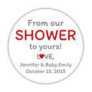 "From our shower to yours stickers - 1.5"" circle = 30 labels per sheet / Indian red - Dazzling Daisies"