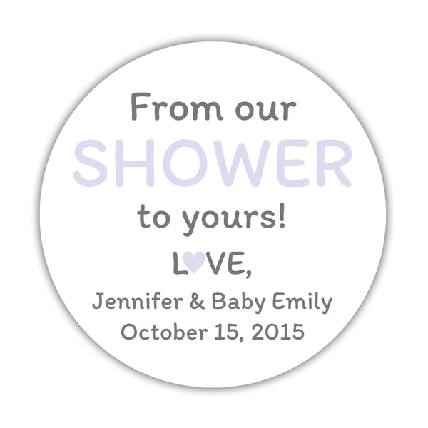 "From our shower to yours stickers - 1.5"" circle = 30 labels per sheet / Lavender - Dazzling Daisies"