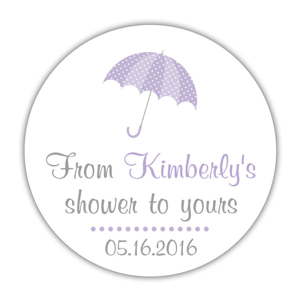 "From my shower to yours stickers 'Ultimate Umbrella' - 1.5"" circle = 30 labels per sheet / Lavender - Dazzling Daisies"