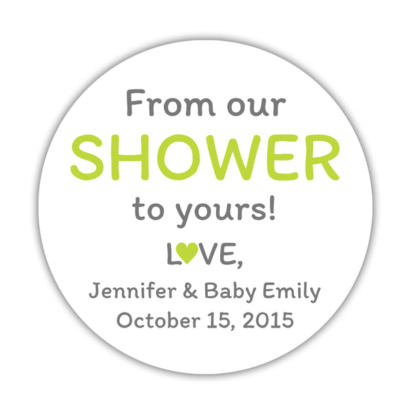 "From our shower to yours stickers - 1.5"" circle = 30 labels per sheet / Lime - Dazzling Daisies"