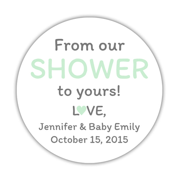 "From our shower to yours stickers - 1.5"" circle = 30 labels per sheet / Mint - Dazzling Daisies"