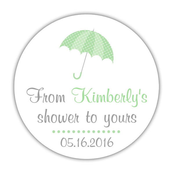 "From my shower to yours stickers 'Ultimate Umbrella' - 1.5"" circle = 30 labels per sheet / Mint - Dazzling Daisies"
