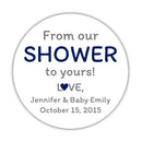 "From our shower to yours stickers - 1.5"" circle = 30 labels per sheet / Navy - Dazzling Daisies"