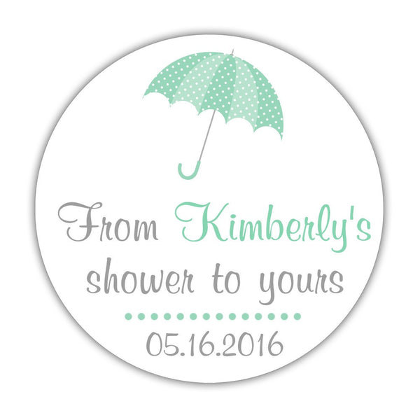 "From my shower to yours stickers 'Ultimate Umbrella' - 1.5"" circle = 30 labels per sheet / Ocean - Dazzling Daisies"