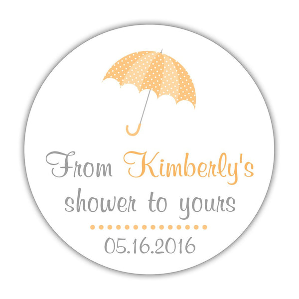 "From my shower to yours stickers 'Ultimate Umbrella' - 1.5"" circle = 30 labels per sheet / Peach - Dazzling Daisies"