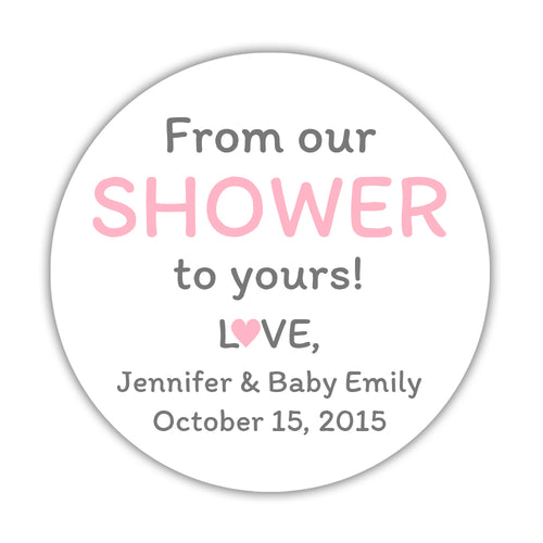 "From our shower to yours stickers - 1.5"" circle = 30 labels per sheet / Pink - Dazzling Daisies"