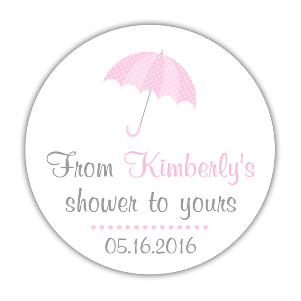 "From my shower to yours stickers 'Ultimate Umbrella' - 1.5"" circle = 30 labels per sheet / Pink - Dazzling Daisies"