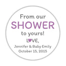 "From our shower to yours stickers - 1.5"" circle = 30 labels per sheet / Plum - Dazzling Daisies"
