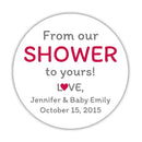 "From our shower to yours stickers - 1.5"" circle = 30 labels per sheet / Raspberry - Dazzling Daisies"