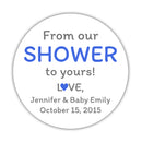 "From our shower to yours stickers - 1.5"" circle = 30 labels per sheet / Royal blue - Dazzling Daisies"