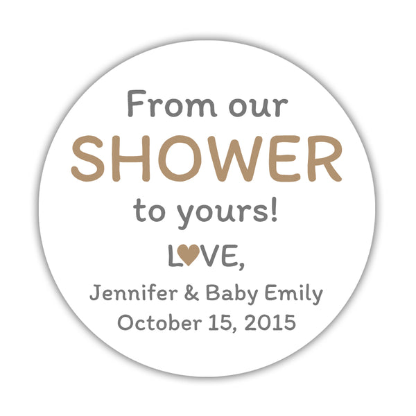 "From our shower to yours stickers - 1.5"" circle = 30 labels per sheet / Sand - Dazzling Daisies"
