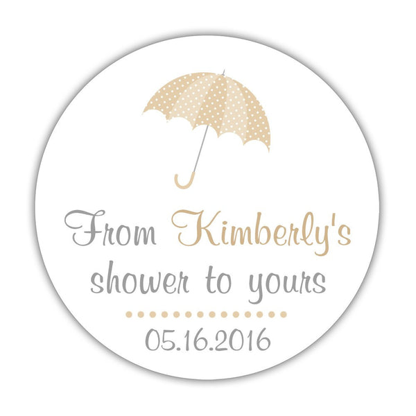 "From my shower to yours stickers 'Ultimate Umbrella' - 1.5"" circle = 30 labels per sheet / Sand - Dazzling Daisies"