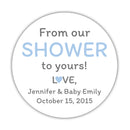 "From our shower to yours stickers - 1.5"" circle = 30 labels per sheet / Steel blue - Dazzling Daisies"