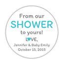 "From our shower to yours stickers - 1.5"" circle = 30 labels per sheet / Turquoise - Dazzling Daisies"